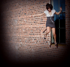 Dont think, just jump. (caroline ) Tags: brick window girl wall jumping dress suicide falling heels vignette pinstripe risks dianapham robertsartgallery