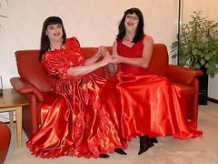 Happy girls (Paula Satijn) Tags: friends red shiny dress skirt tgirl tranny transvestite satin silky ballgown