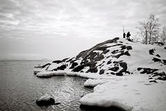 Winter at Suomenlinna (immu) Tags: winter sea bw snow film ice hill xa suomenlinna sveaborg olympusxa