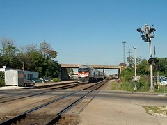Westbound Metra express commuter train. Berwyn Illinois. August 2006.