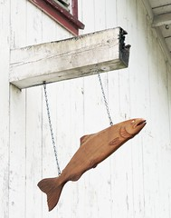 Traditional Salmon Carving, Sointula, Malcom Island, BC (A.Davey) Tags: canada bc britishcolumbia sointula malcomisland carvedwoodensalmon carvedwoodensalmonhangingfrombuilding