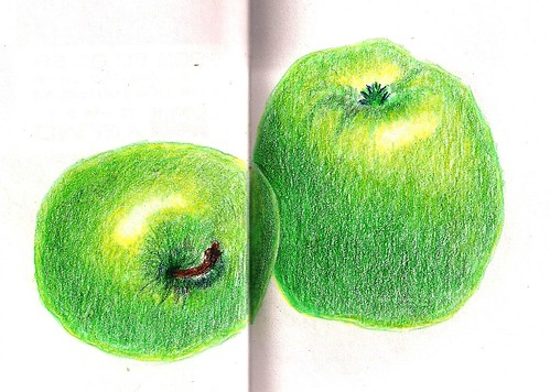 Apples colored pencils