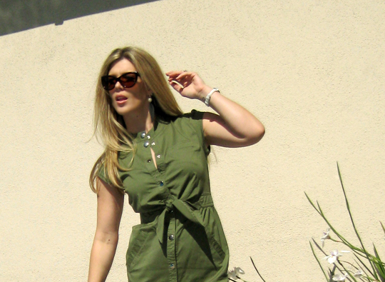marc by marc jacobs army green shirt dress -4