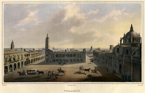 019-Vista de la plaza mayor de Veracruz-Voyage pittoresque et archéologique dans la partie la plus intéressante du Mexique1836-Carl Nebel