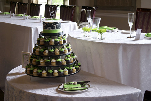 W9098 - black white green wedding cupcake tower - a photo on ...