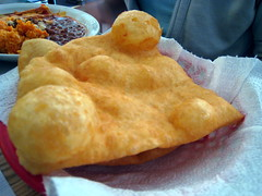 and a sopaipilla mmmmm (Boots in the Oven) Tags: newmexico southwest bread lunch restaurant lasvegas plate roadtrip nm fried frybread sopapilla estellas sopaipilla