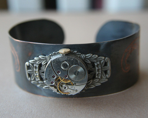 Time Flies OOAK Steampunk Bracelet