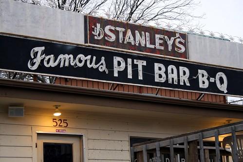 j.d. stanley's famous pit bar b-q signage