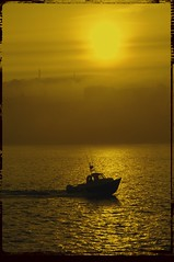 Through the sea mist. (redeyesatdawn) Tags: sunset sea mist boat fishing scarborough returning iphotoedited aplusphoto