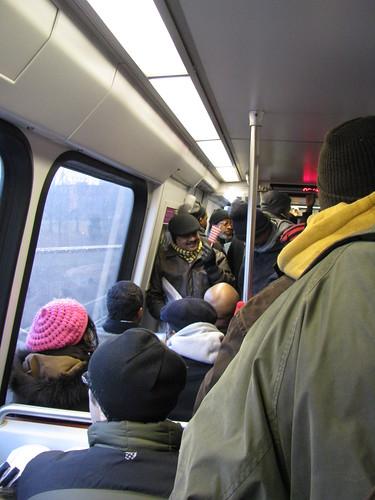 Crowded Metro train