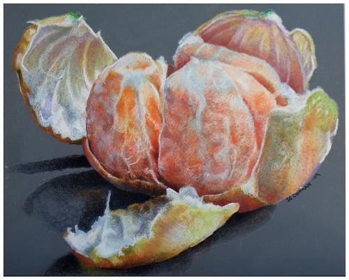 Colored pencil drawing of a clementine orange.