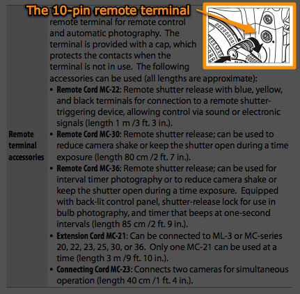 The 10-pin remote terminal on the Nikon D3X as referenced in the user manual