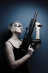 Backup (cszar) Tags: woman topv111 toy model nikon gun wideangle tokina speedlight softbox airsoft anke d300 1224mmf4 g36 strobist captureone4