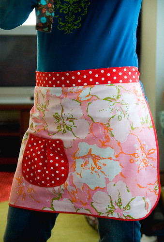 Vintage bed sheet apron