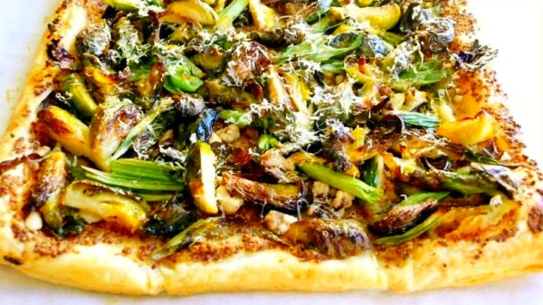 brussells sprouts and green onion galette with walnut mustard