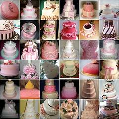 Pink Cake Mosaic 3 (PrincesseJen) Tags: birthday pink wedding sea brown tiara hot flower rose cake dessert shoe design fdsflickrtoys princess stripes may shell pastry corset cape layers ribbon bridal tier fondant bowe