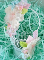 Mini Easter Basket I (such pretty things) Tags: birthday pink flowers wedding party baby holiday bird floral leaves vintage paper easter miniature spring wire aqua basket candy pastel country cottage feathers feather mini velvet cups decorating bow baskets ribbon chic nut ideas favor favors chenille entertaining shred millinery shabby