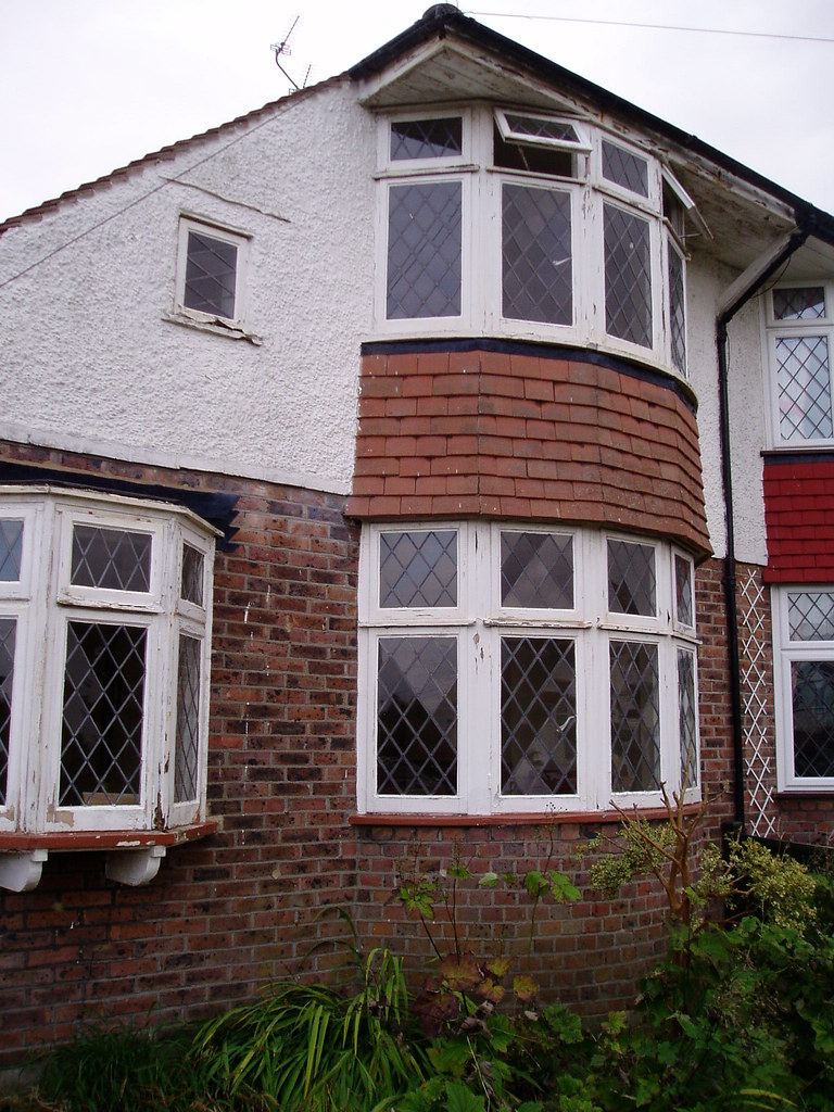 Bay windows, 1930s chalet semi, Broad Road, Willingdon, Sussex