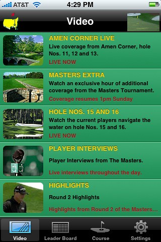 Watching the Masters live on the iPhone #yam #fb