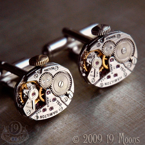 HAMILTON Rare Vintage Watch Movement Cufflinks by 19 Moons Steampunk