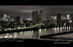 Tokyo Night View Panorama from Park Axis Toyosu (Ken.Lam) Tags: park building st japan night reflections river garden landscape lights tokyo nightscape shot bladerunner illuminations   lukes expressway gotham sumida hdr axis panaroma shiodome dentsu d300 toyosu     officies