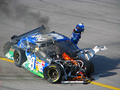 Bad day at the office (Roger Smith) Tags: fire crash flip nascar finish driver wreck edwards 2009 talladega carledwards tcon17 aarons499 talladegasuperspeedway sprintcup
