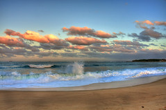 Sunset on the beach (ImageBud) Tags: ocean sunset beach clouds canon newcastle waves australia newsouthwales hdr 40d blacksmithsbeach camdub