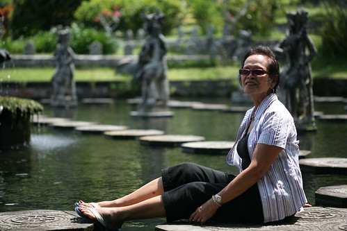 Mommy posing on the stepping stones of Mahabharata pond