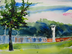 I Stand Corrected-Ionia Maximum Correctional Facility (Artist Naturalist-Mike Sherman) Tags: art watercolor painting michigan prison corrections latespring pleinair guardtower slamer ioniacounty ioniamichigan kunstplatzlinternational ioniamaximumcorrectionalfacility
