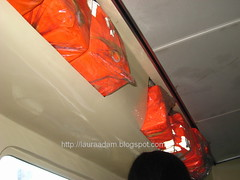 Life jackets in plastic bags