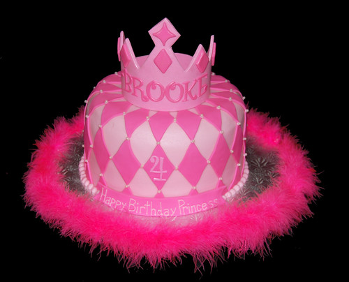 Pink Princess Birthday Cake with Tiara Crown