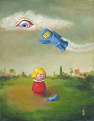 """Mark Brown- """"Sara Finds An Arm (Art Images Directory) Tags: man tree eye art museum ball fire gallery chaos lego space exhibition tape markbrown surrealart artknowledgenews sarafindsanarm"""