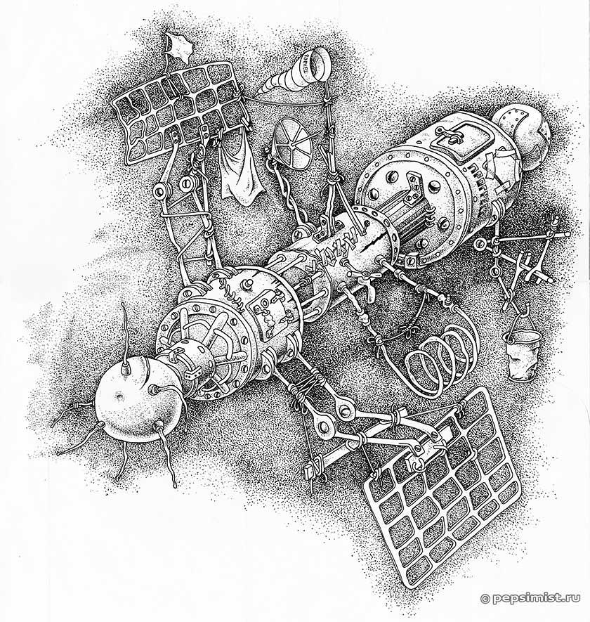 Космический грузовик - тушь, перо - Андрей Танаев
