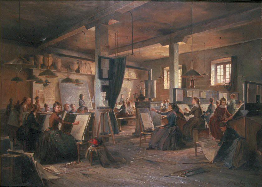 Auguste Aridas - Cours du matin des jeunes filles à l'ancienne Ecole d'arts décoratifs