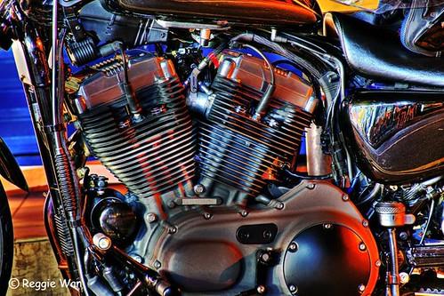The engine of Harley Davidson bike.