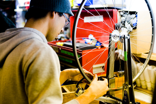 Workin on bikes at the Bikerowave