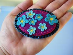 """forget me not"" (maximum RABBIT designs) Tags: handmade brooch felt forgetmenot feltbrooch craftzinevdaycontest2009"