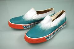 teal and salmon slip-on vans style shoes - ebay (STILETTO NINJA) Tags: print gold ebay oneofakind ombre gradient vans samples vulcanized slipon size9