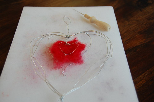 Wire wrapped needle felted heart 3
