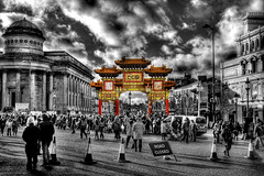 Golden Gate (BarneyF) Tags: street people liverpool chinatown newyear hdr selectivecolor merseyside chinesearch
