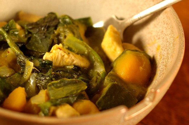 Curried Chicken with Kabocha Squash & Mustard Greens