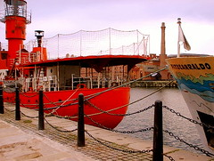 Retired River Mersey Light-Ship (* RICHARD M (Over 6 million views)) Tags: red sea england tourism water liverpool boats europe lighthouses sailing ships cities maritime rivers ports albertdock wharfs merseyside rivermersey seaports capitalofculture2008 quaysides