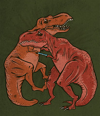 two dinosaurs caught in a chinese finger trap (jublin) Tags: design finger chinese stupid rex trap dinosaurs trex tyranosaurus