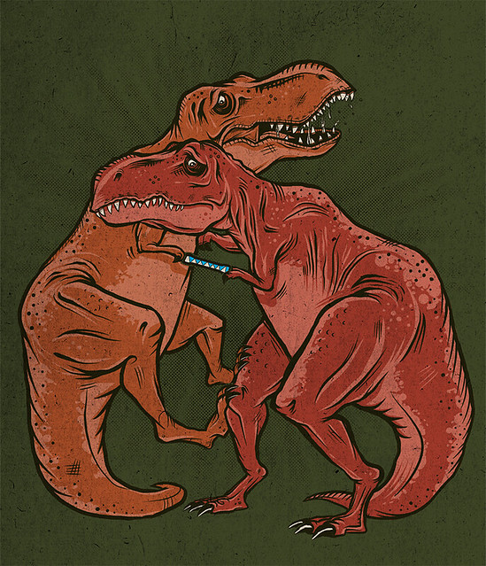 two dinosaurs caught in a chinese finger trap
