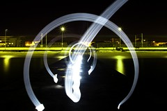 circle of light (Patrick Brosset) Tags: road longexposure light sea mer lightpainting water reflections painting circle pier dock jete jete juanlespins