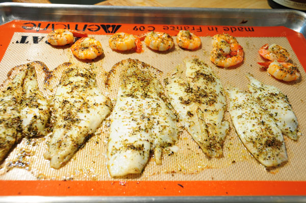 broiled flounder and shrimp