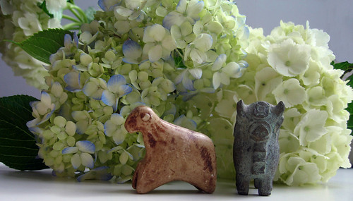 Flowers - hydrangeas with peruvian figurines