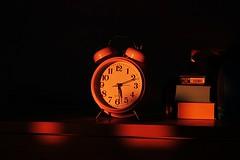 I'm Wide Awake, It's Morning (New_Disaster) Tags: orange sunlight clock sunrise bedroom shadows insomnia