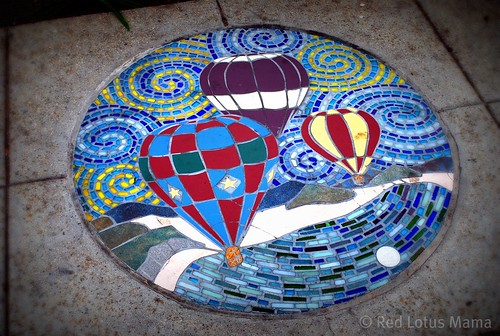 hot air balloon sidewalk mosaic medallion