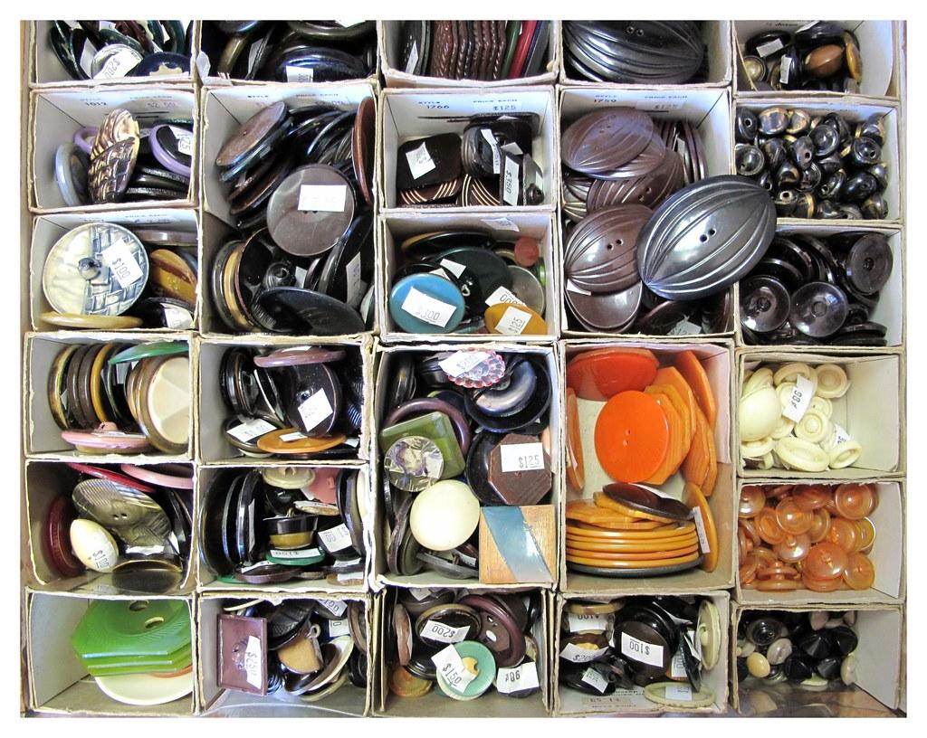 Drawer of Vintage Bakelite Buttons